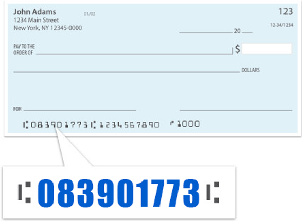 example of where routing number is found on check